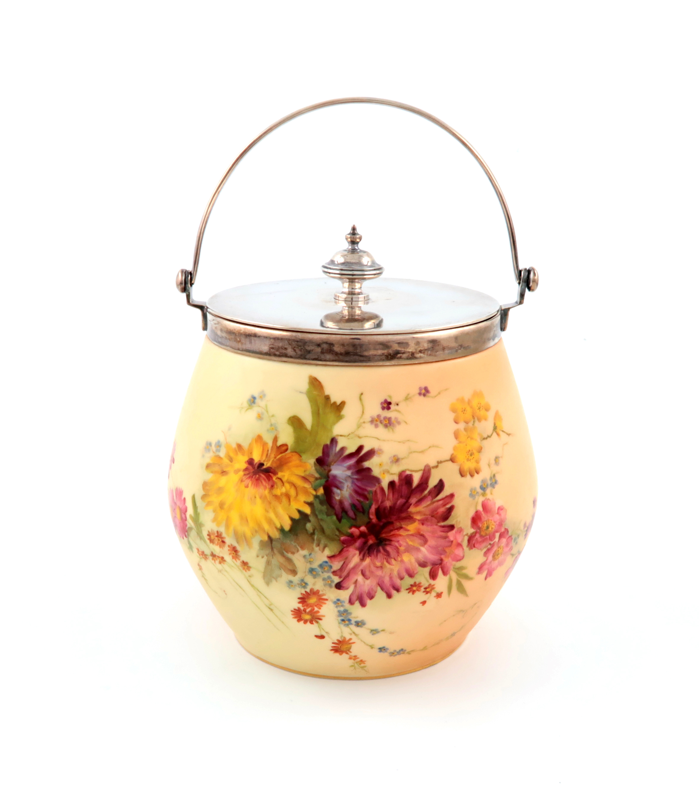 Lot 711 - An Edwardian silver-mounted Royal Worcester biscuit barrel, the mounts by James Deakin and Sons,