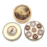 λ An early 19th century ivory and tortoiseshell snuff box, circular form, tortoiseshell banding