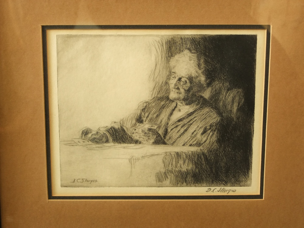 Lot 624 - D C Sturgess (20th century British) - Study of an elderly woman, black and white etching, signed