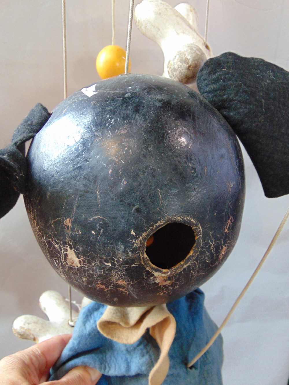 Lot 86 - A large 1950's shop display Mickey Mouse Pelham puppet, wood construction with felt ears, jacket and