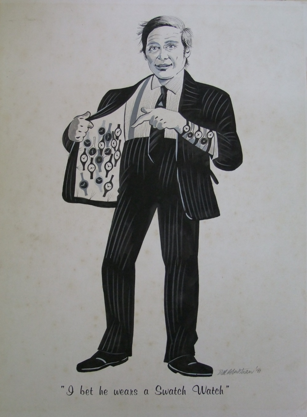 Lot 565 - William (Bill) Robertshaw (20th century) a black and white gouache advertising study of a humorous