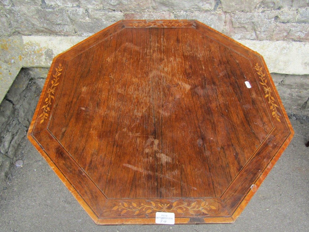 Lot 1103 - An inlaid Edwardian rosewood veneered occasional table with octagonal top, raised on ring turned