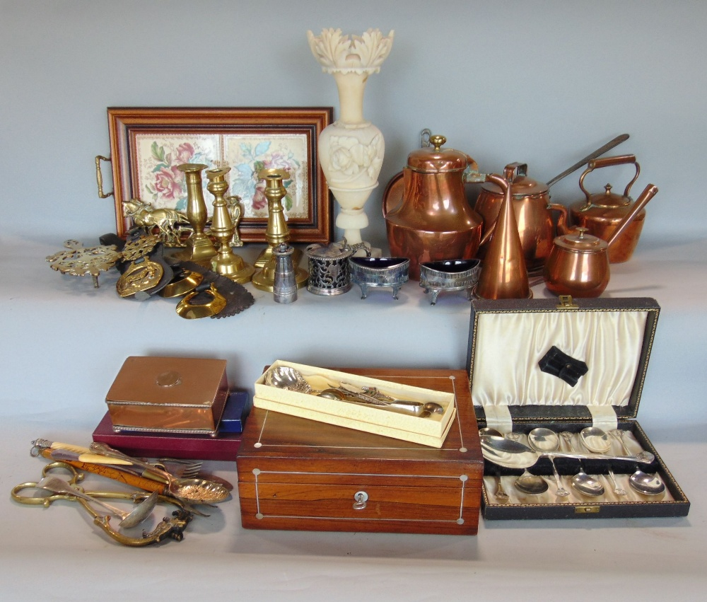 Lot 585 - A box containing a collection of various antique copper and metalware, together with a small
