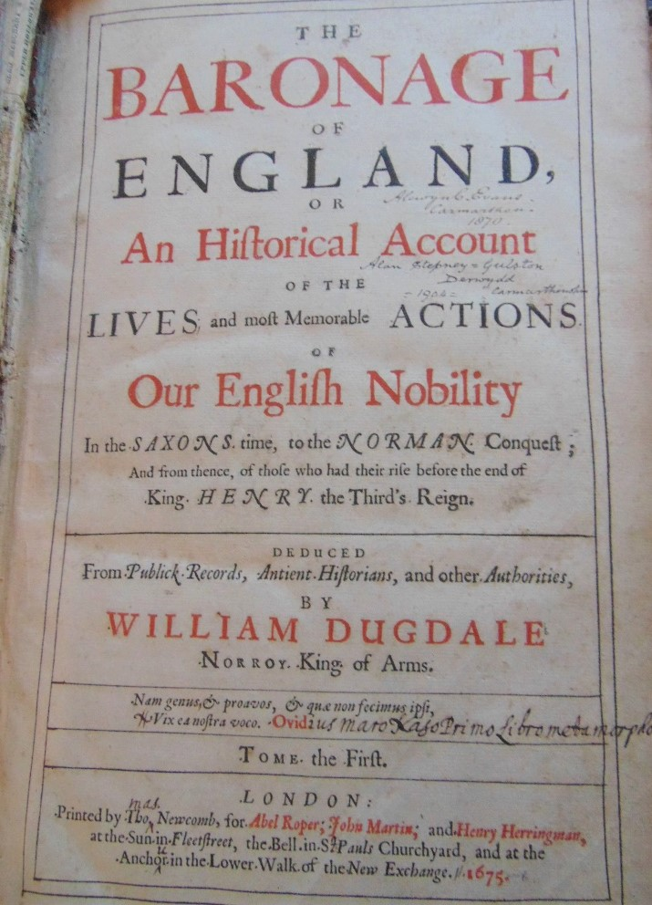 Lot 840 - DUGDDALE William - The Baronage of England or an Hiftorical Account of the Lives and Memorable