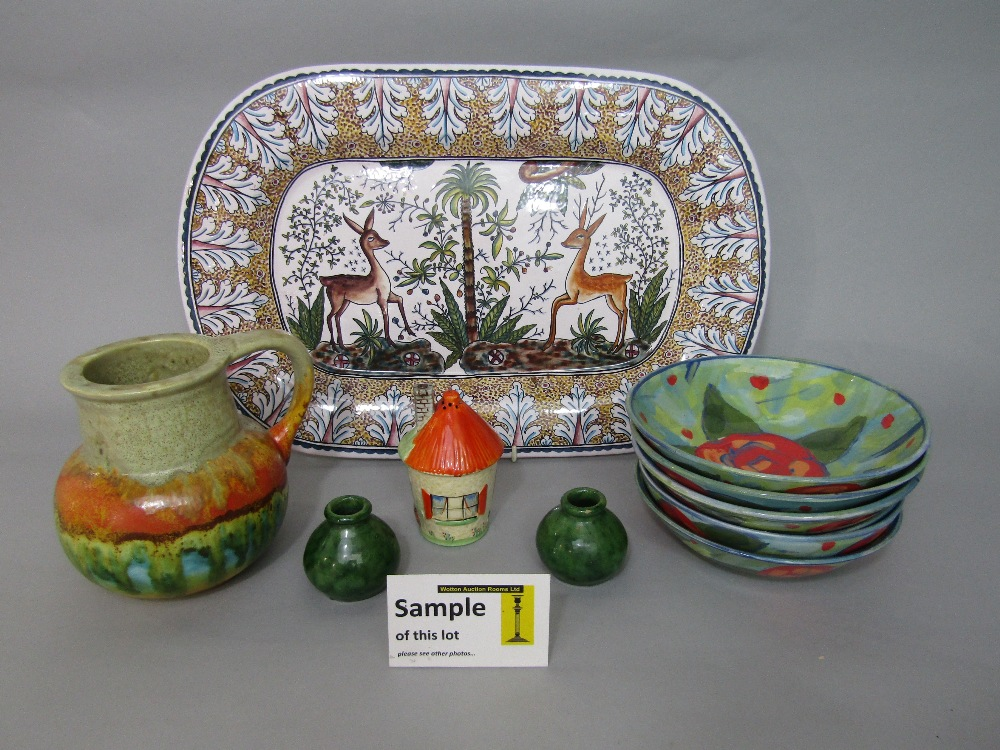Lot 73 - A collection of decorative ceramics including two Portuguese rectangular serving plates with