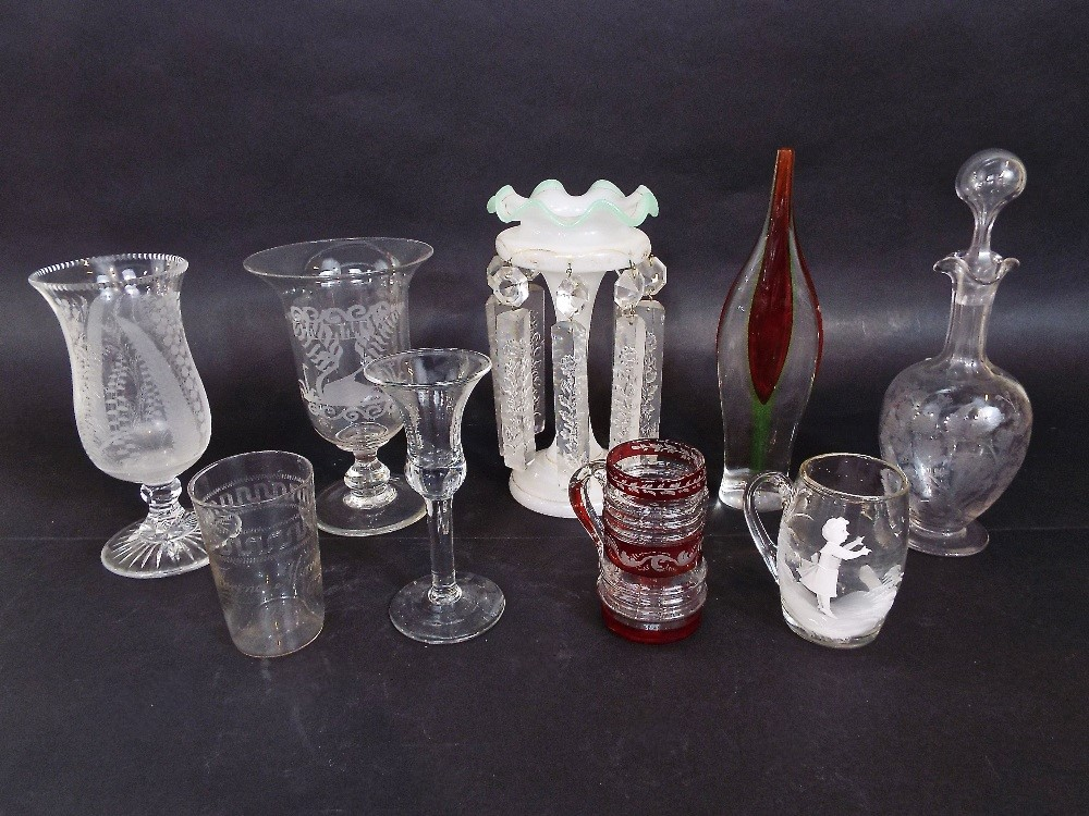 Lot 139 - Mixed collection of antique and later glassware to include two etched celery vases, opaline glass