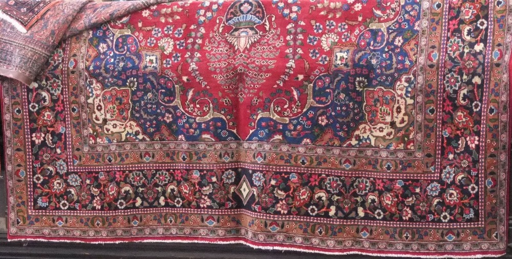 Lot 626 - Good Persian Tabriz carpet, floral design, red ground, 400 x 300cm
