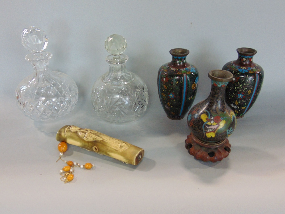 Lot 544 - A mixed lot to include three small cloisonné vases, together with two squat cut glass lidded