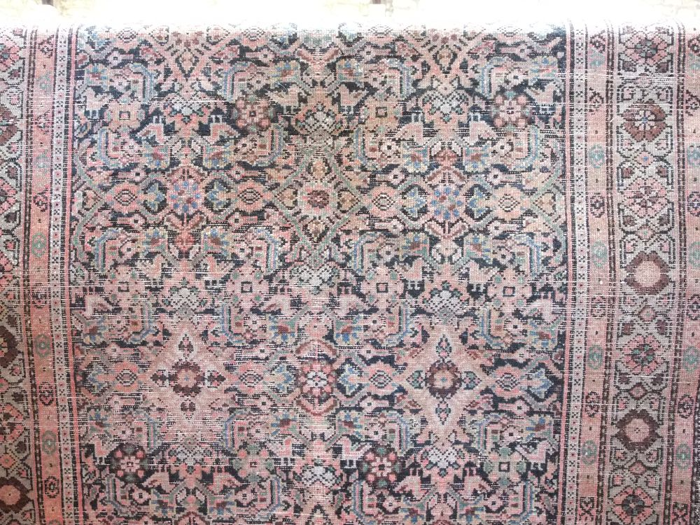 Lot 641 - Antique Persian flat weave rug, with geometric decoration upon a navy blue ground, 200 x 120cm