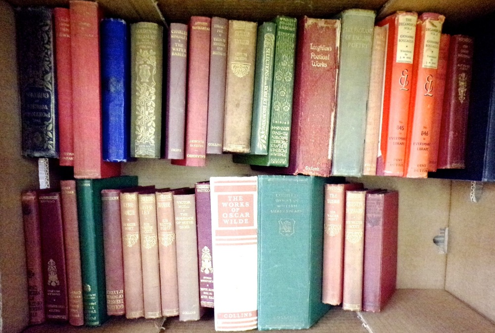 Lot 872 - Two boxes containing a collection of mainly classic literature together with some medical books