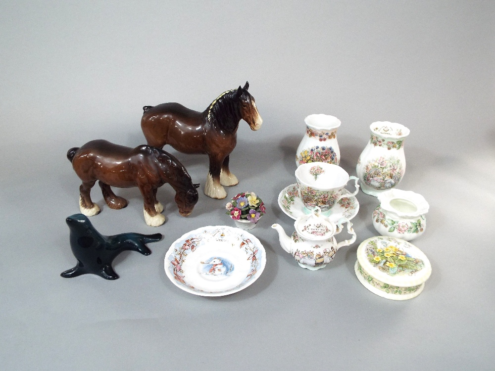 Lot 35 - Two Beswick models of shire horses together with a small collection of Royal Doulton Brambly Hedge