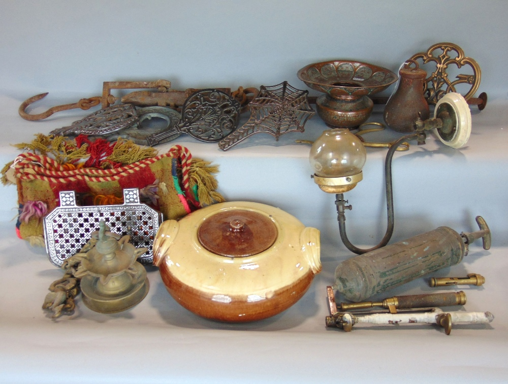 Lot 595 - Three boxes containing a collection of interesting and antique metalware including yard arm, small