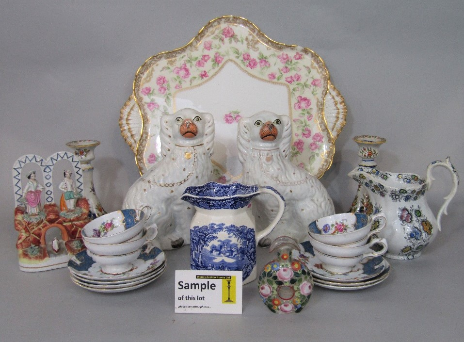 Lot 91 - A collection of mainly 19th century ceramics including a Staffordshire equestrian figure of the Duke