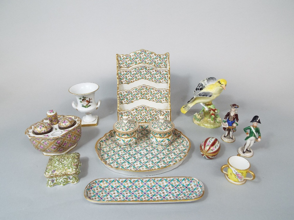 Lot 24 - A collection of 19th century desk items , all with painted and gilded diaper and flower head detail,