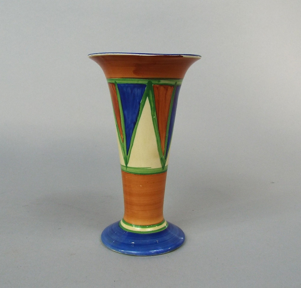 Lot 62 - A Clarice Cliff Bizarre vase of tapering and flared form with painted geometric decoration and in
