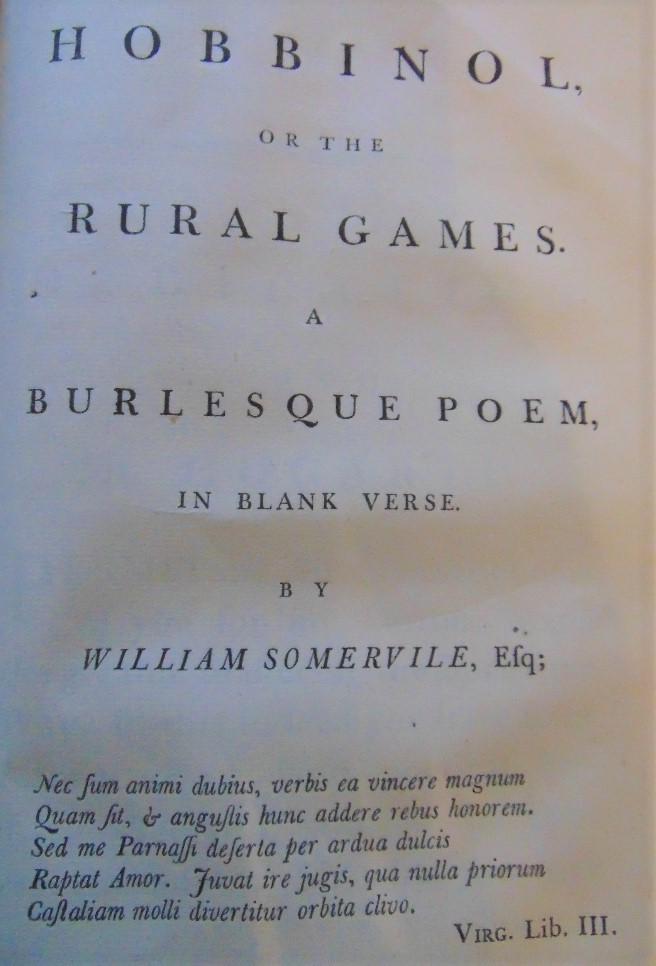 Lot 842 - SOMERVILLE William - The Chase, a poem to which is added Hobbinol or The Rural Games, printed for