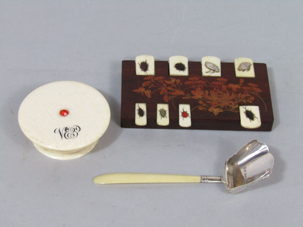Lot 392 - Small 19th century ivory pot and cover, Japanese hardwood and shibayama counter, and a small