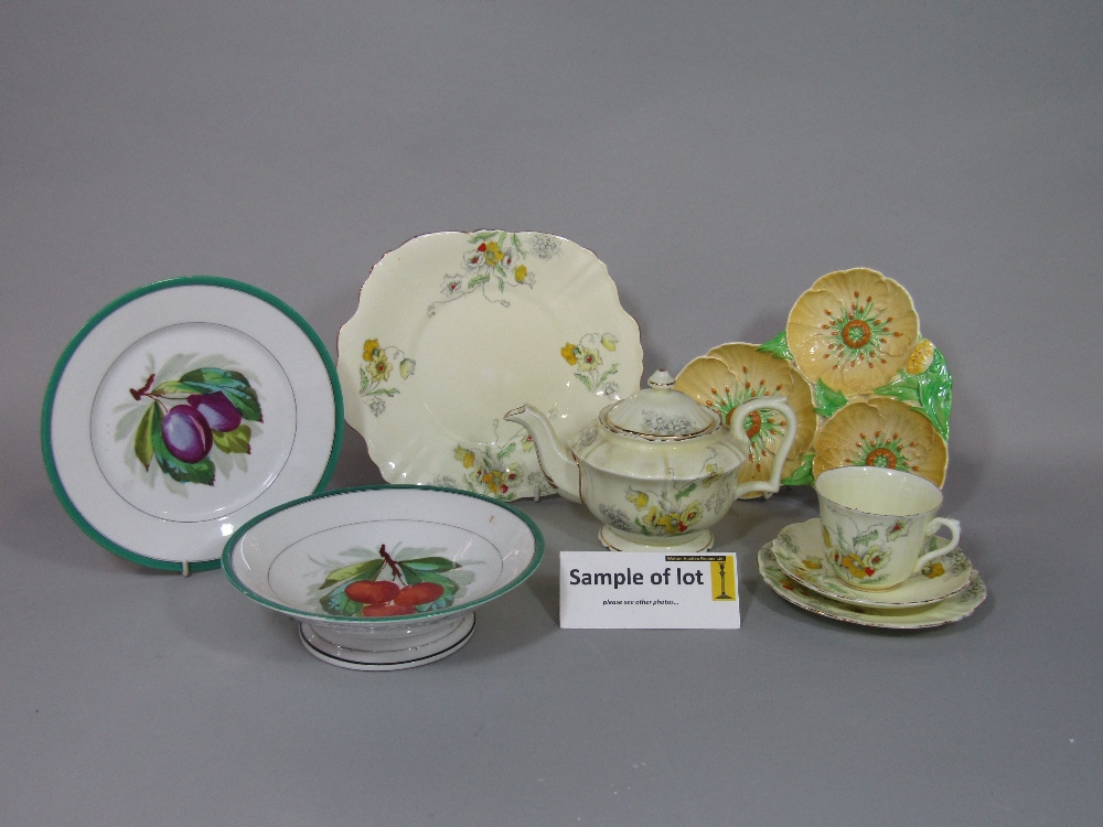 Lot 33 - A collection of Crown Staffordshire teawares with yellow poppy detail comprising teapot, milk jug,