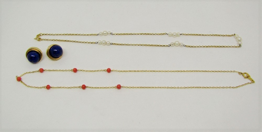 Lot 302 - Group of 9ct jewellery comprising two similar necklaces interspersed with coral beads / pearls and a