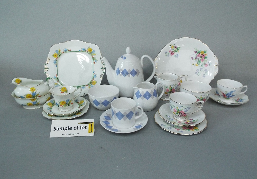 Lot 24 - A collection of Shelley Blue Harlequin pattern coffee wares comprising coffee pot, milk jug, sugar