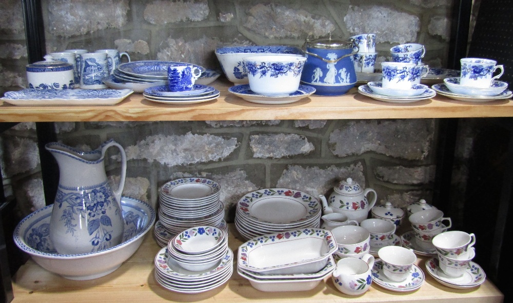 Lot 2 - A collection of 19th century and later blue and white printed ceramics including a jug and basin set