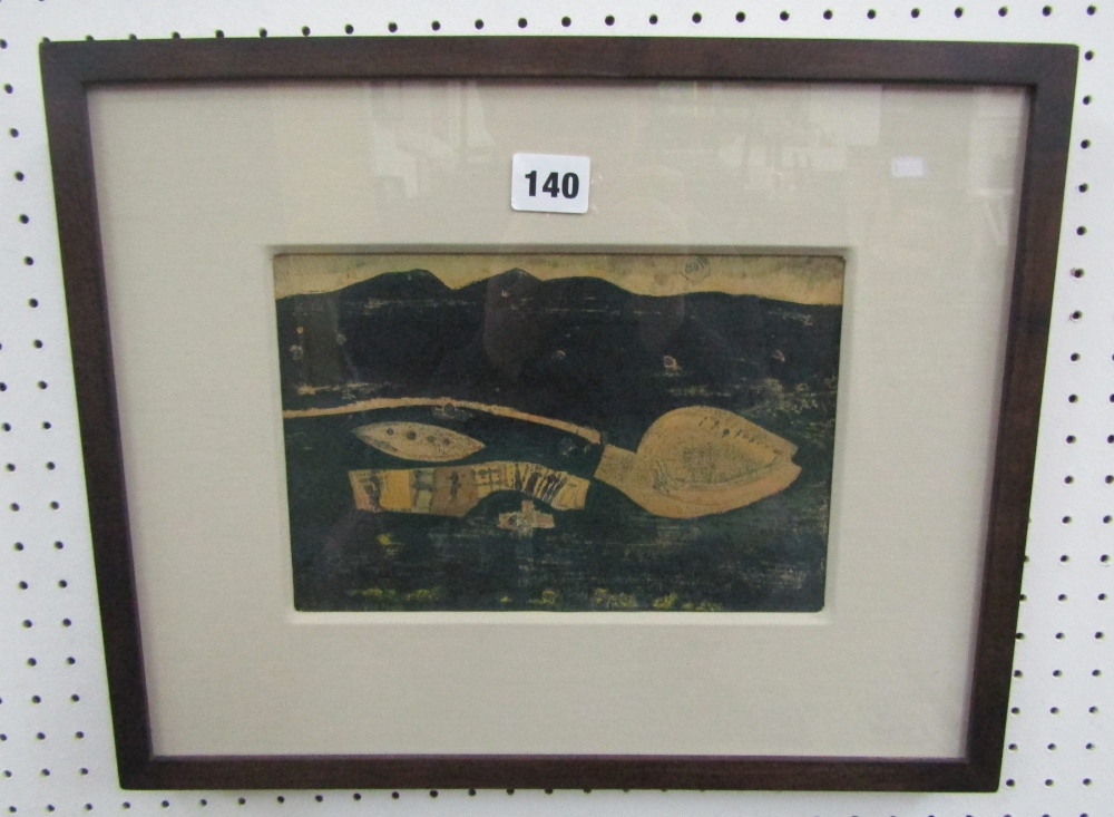 Lot 140 - Robert Breman (20th century) - 'Celtic Landscape', oil on paper, 16 x 24cm, framed