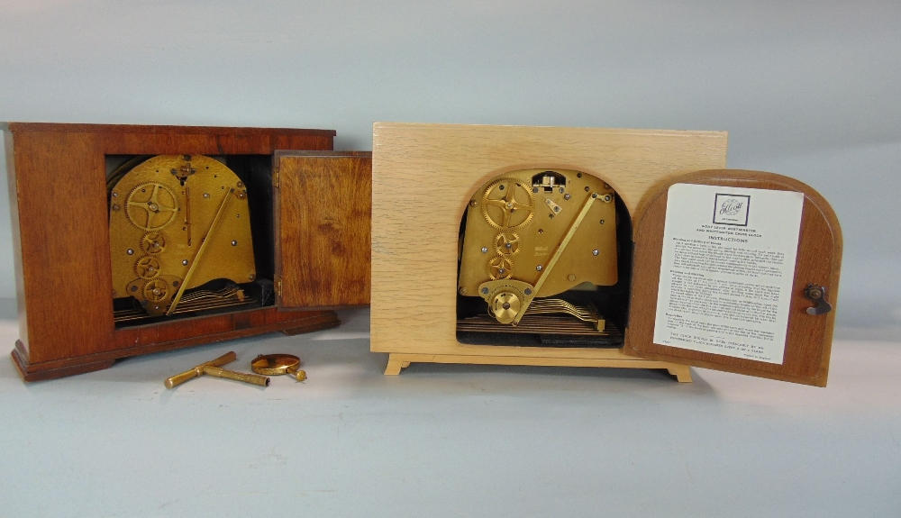 Lot 571 - Tarratt and Elliot Westminster chime three train mantel clock, together with a further Elliot