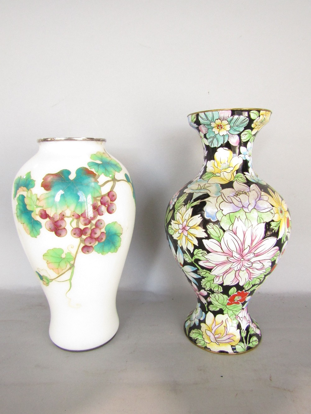Lot 741 - Six various cloisonné vases, various colours and of traditional design and form