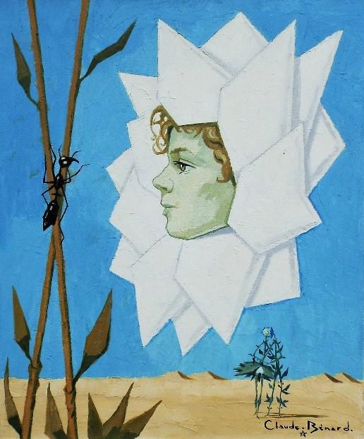 Lot 82 - Claude Benard (20th/21st century) - 'Untitled' (Daisy Head) Oil on Canvas, 55 x 46cm, framed
