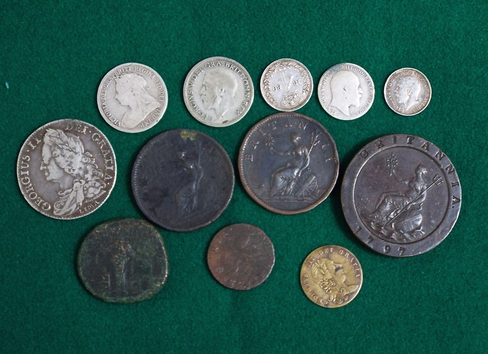 Lot 619 - George II silver half crown, Lima 1745, William and Mary copper farthing 1694, George III