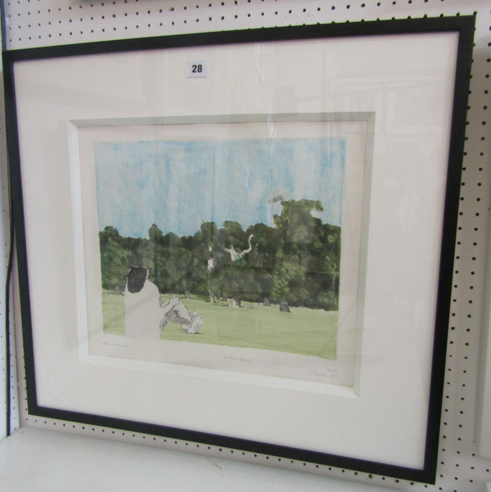 Lot 28 - Kennith Armitage (1916-2002) - 'Park Scene', signed and dated 1978-1981, mixed media artist proof,
