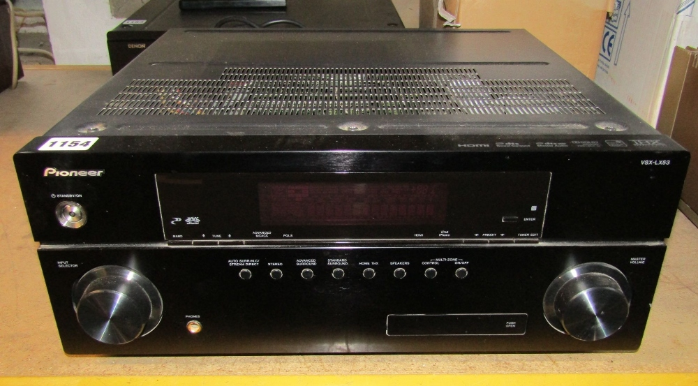 Lot 1154 - A Pioneer VSX-LX53 Audio/Video Multi Channel Receiver, complete with remote control and