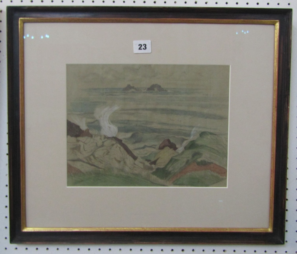 Lot 23 - John Northcote Nash (1893-1977) - Coastal Scene, signed, ex-Christies consignment label verso,