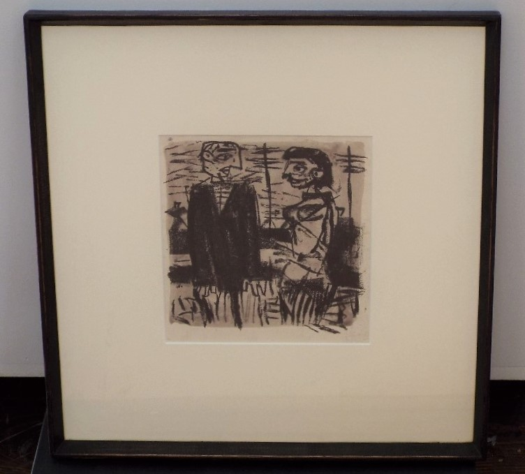 Lot 69 - Colin Middleton (1910-1983, Irish) - 'Two Figures', signed verso, Mixed Media, 22 x 18cm, framed