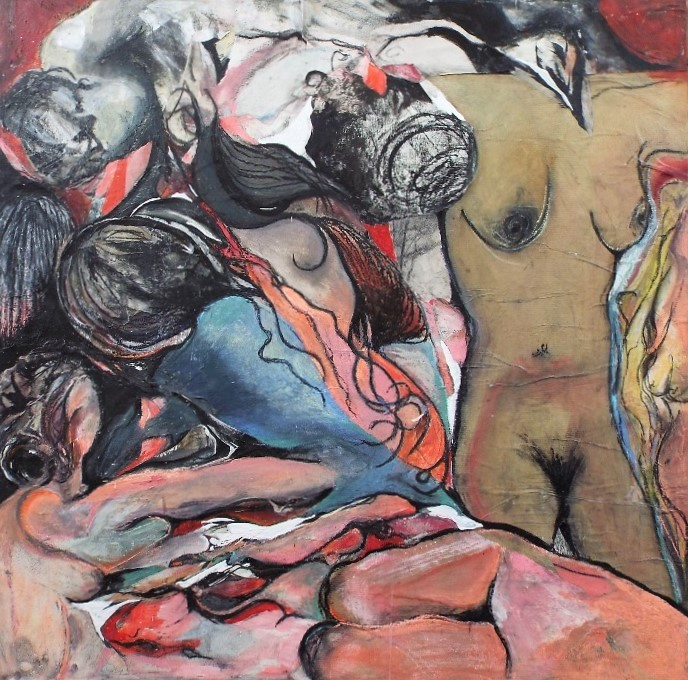 Lot 87 - Toose Morton (20th/21st century) - 'The Orgy', signed and dated 2015 verso, further inscriptions