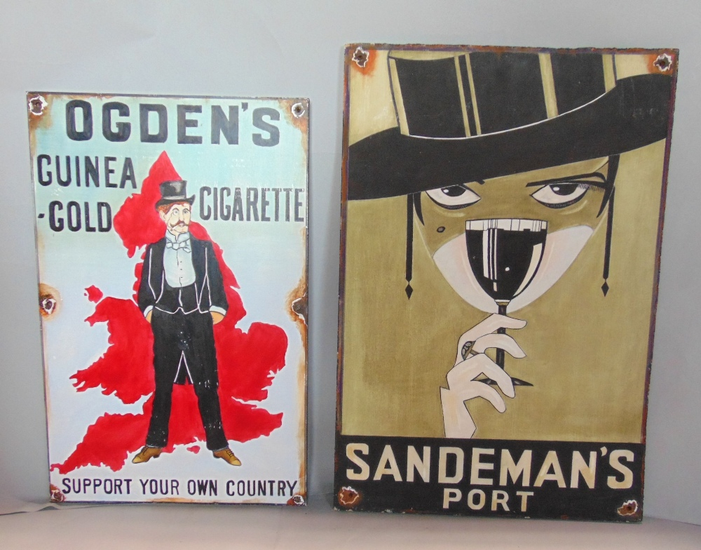 Lot 691 - Six vintage style hand painted advertising signs for Sandeman's Port, 52 x 42cm, Ogden's Guinea-Gold