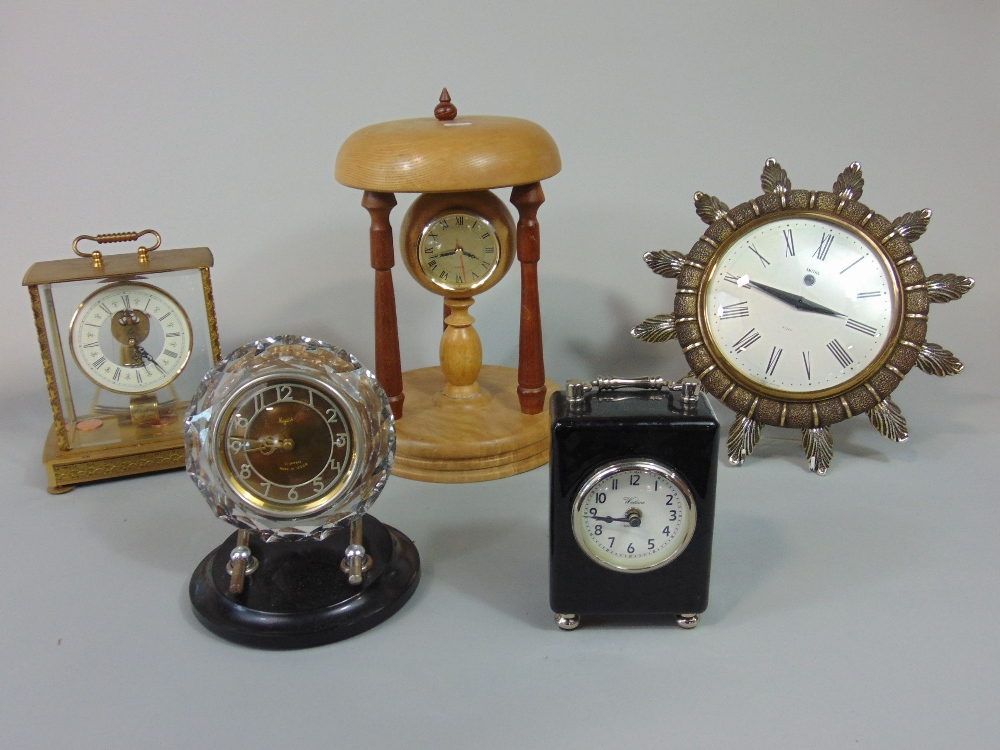 Lot 593 - Collection of retro type wall clocks to include a Smiths eight day sunburst clock, a Majak USSR