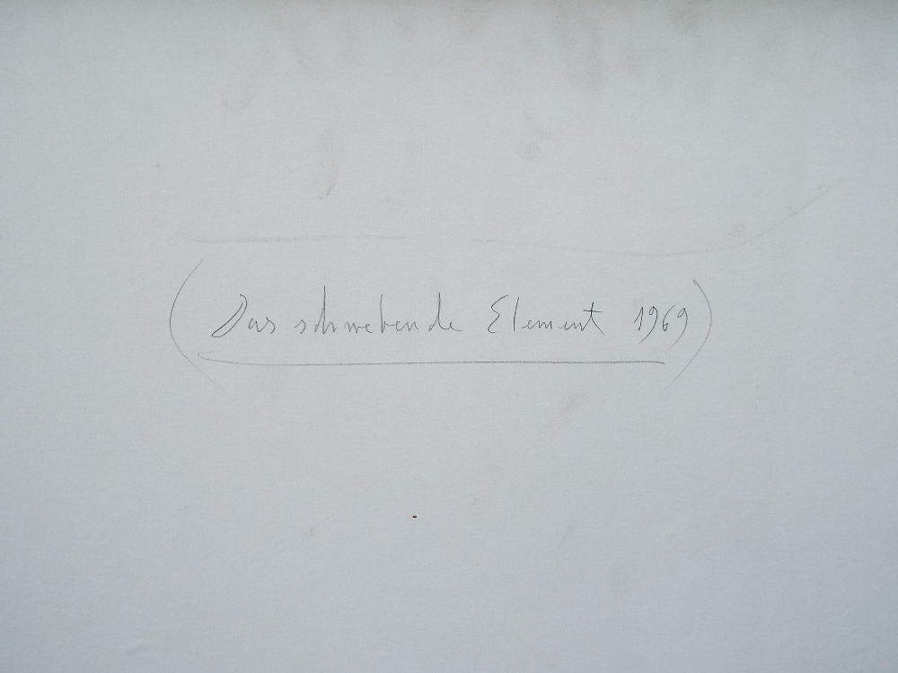 Lot 118 - Loew (20th century school) - 'Das Sohwebren de Element', titled and dated 1969 verso, Oil on