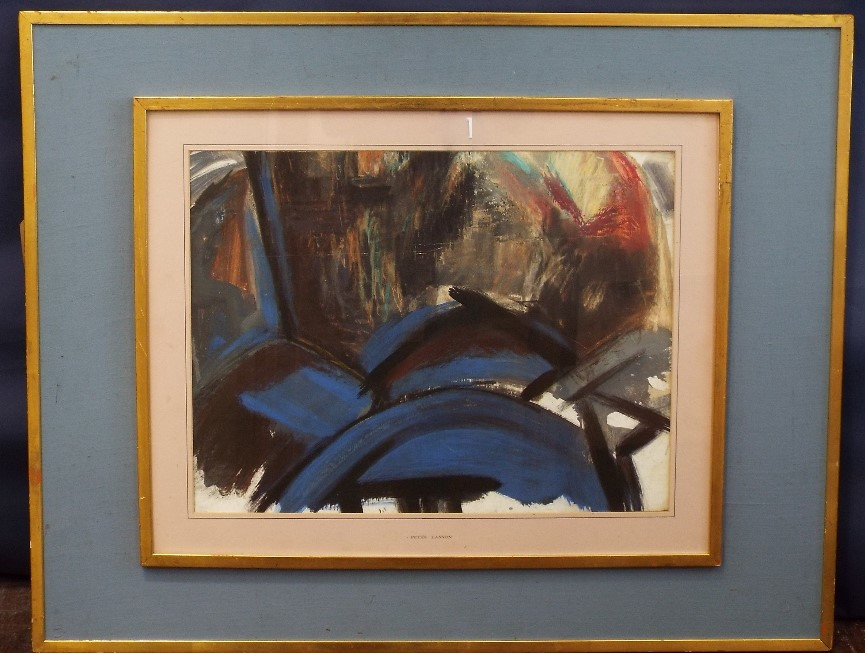 Lot 97 - In the manner of Peter Lanyon (1918-1964) - Abstract study with blues and blacks, mount inscribed
