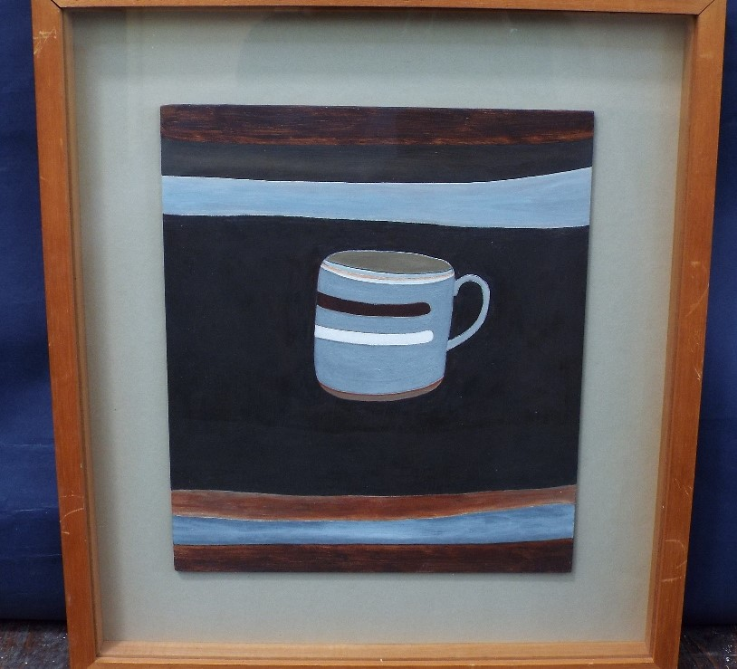 Lot 65 - Rachel Nicholson (B.1934) - 'Mug', signed and dated 1980 verso, Oil on board, 29 x 25cm, framed