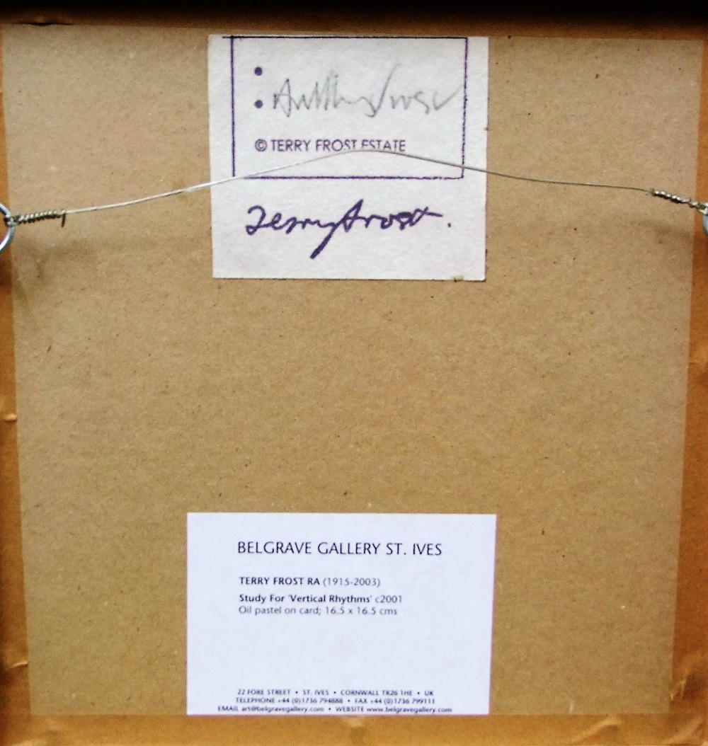 Lot 101 - Sir Terry Frost (1915-2003) - 'Study for Vertical Rhythms', signed Terry Frost Estate label verso,