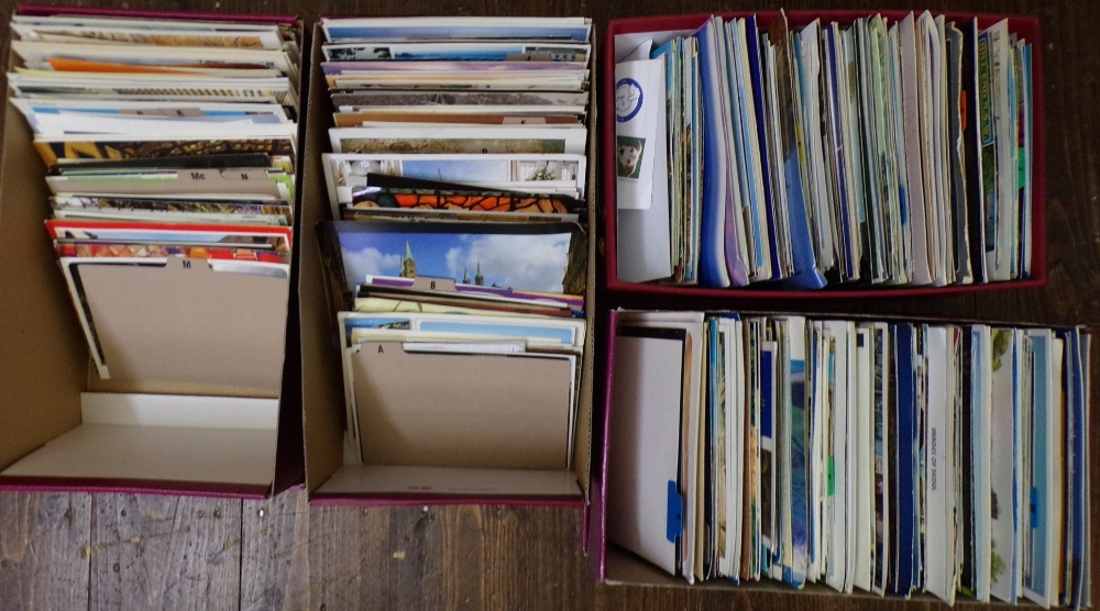 Lot 894 - Four mixed boxes containing approx 1600 mixed postcards (4)