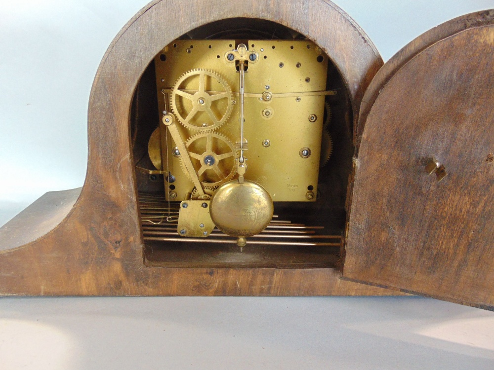 Lot 578 - Four mantel clocks to include a three train Napoleon hat example
