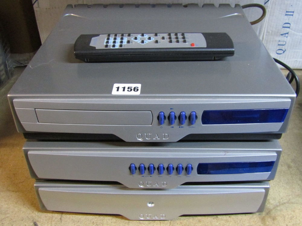 Lot 1156 - A Quad Series 99 Pre-amp, Power-amp and CD player, single remote control and original cardboard