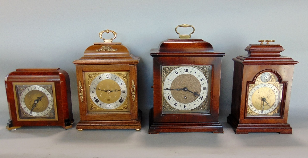 Lot 583 - Two Elliot style bracket clocks together with a further bracket style clock and one other (4)