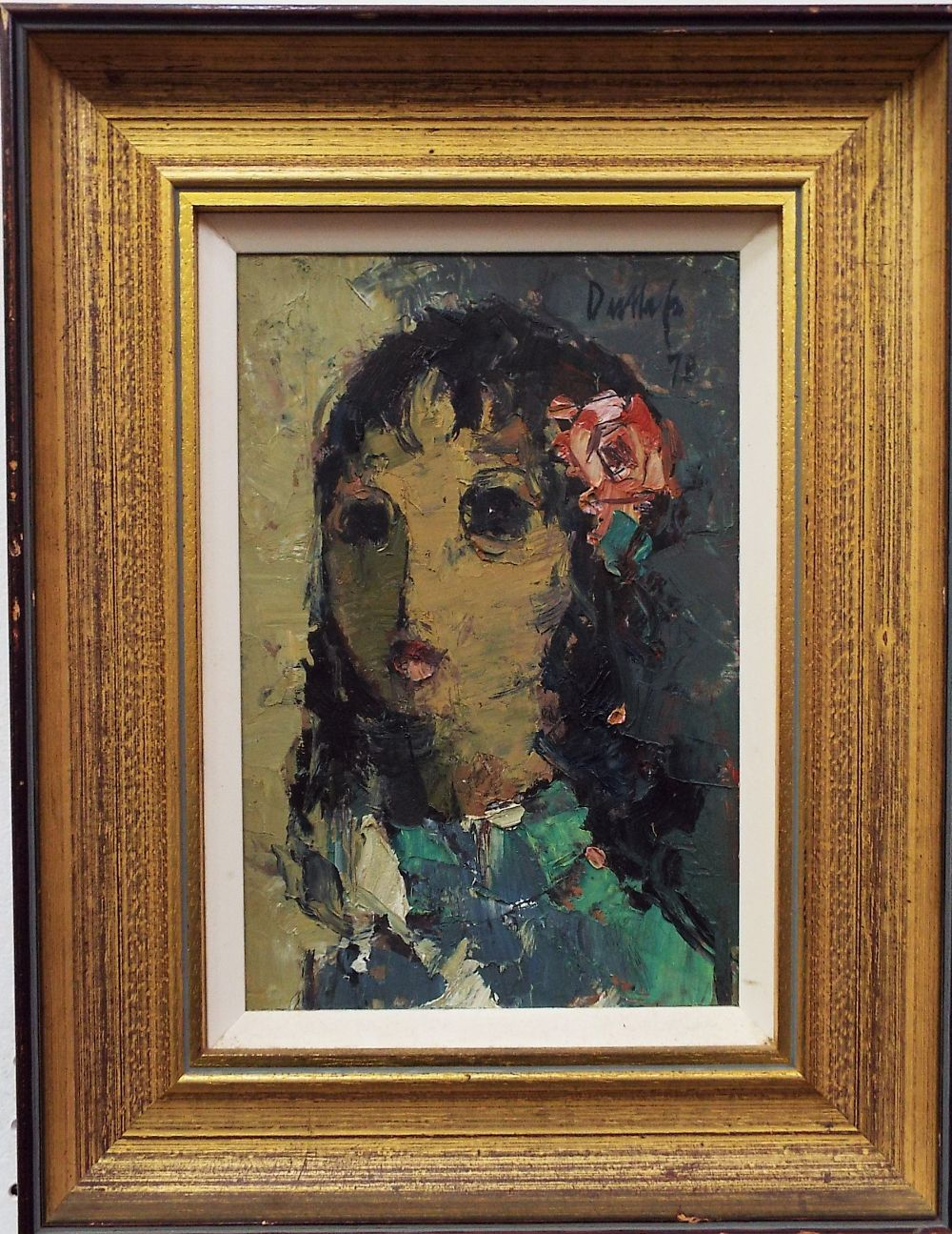 Lot 152 - 20th century continental school - Bust portrait of a girl with a flower in her hair, indistinctly