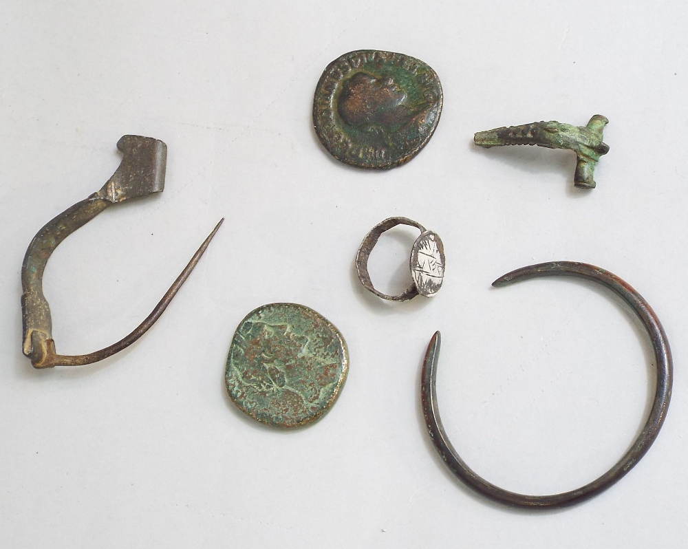 Lot 618 - Five Roman bronze detectorist finds, brooch, bangle and a silver ring probably medieval