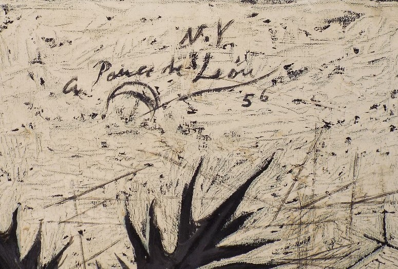 Lot 29 - Angelo Ponce De Leon (B.1925) - 'N.Y', signed and dated 1956, Oil on Canvas, 60.9 x 91.4cm, framed