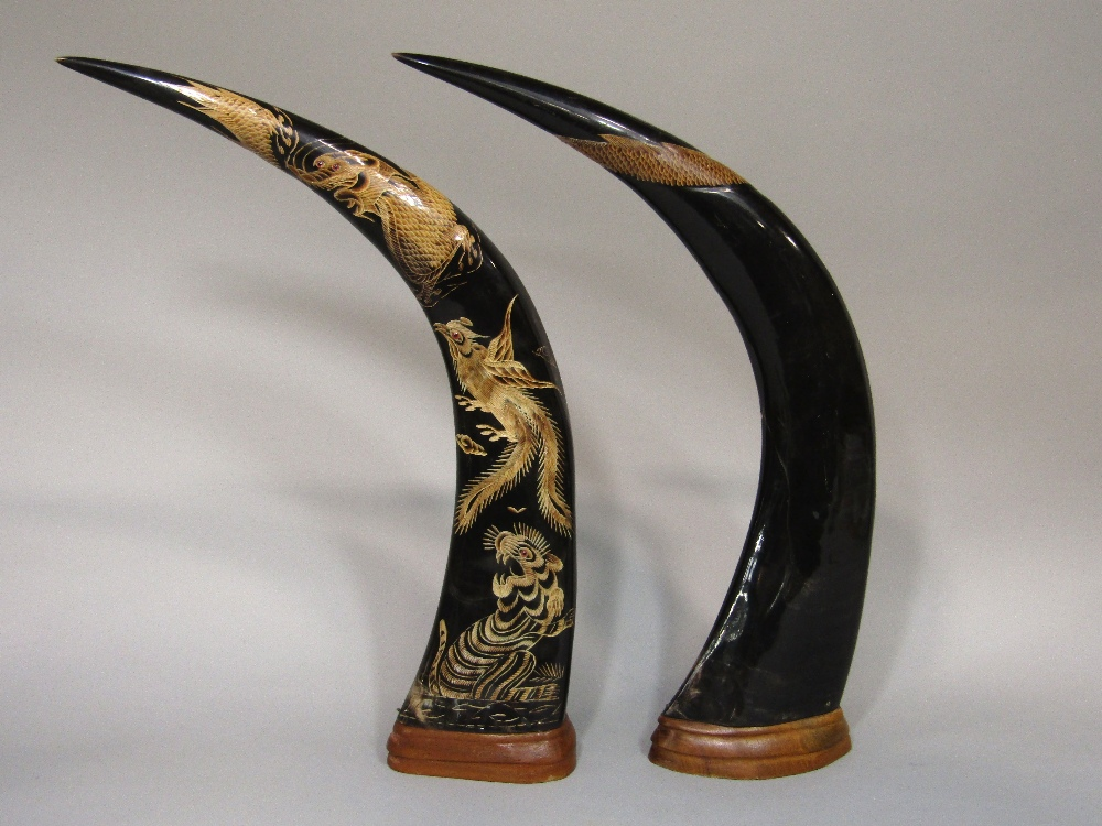 Lot 803 - A pair of buffalo horns, with tiger, pheasant and dragon detail