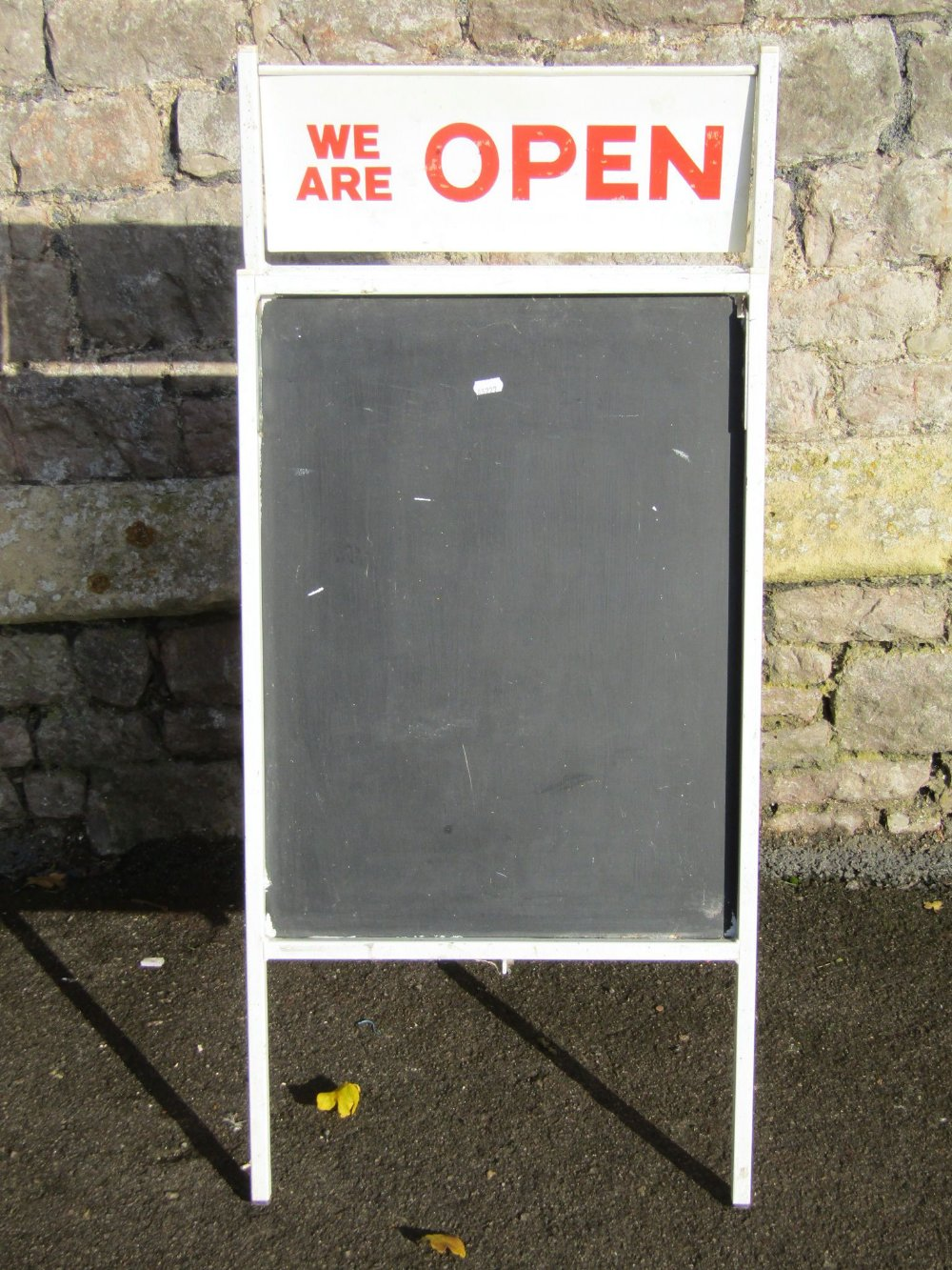 Lot 1053 - A vintage A framed painted metal shop exterior sign board, with painted twin flap 'We Are Open'